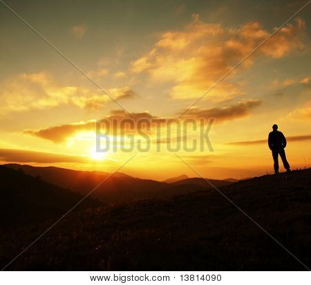 Man silhouette on sunset