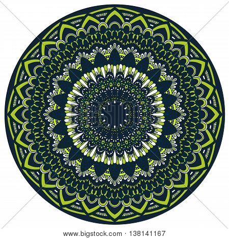 Vector Round Mandala In Childish Style. Ornamental Doodle Background