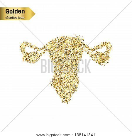 Gold glitter vector icon of vulva isolated on background. Art creative concept illustration for web, glow light confetti, bright sequins, sparkle tinsel, abstract bling, shimmer dust, foil.