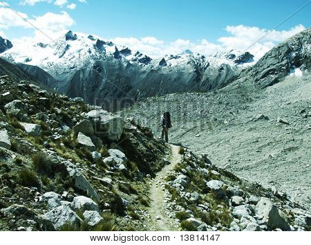 Backpacker going up in Cordilleras mountain