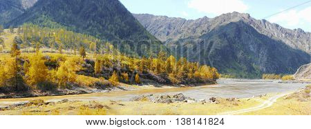 autumn landscape oil paint. Clean rivers Altai Mountains fresh air undisturbed pristine nature Illustration peaceful Highlands road.
