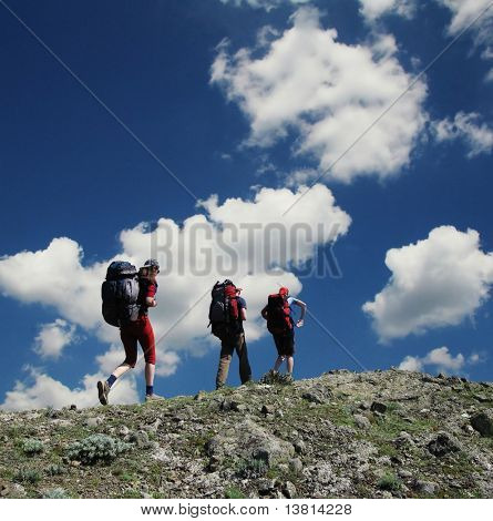 People going up in hiking