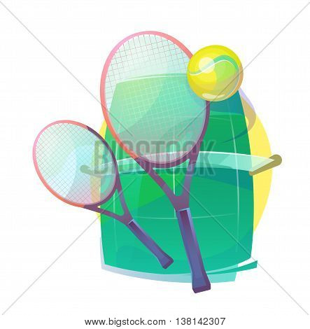 Illustration for tennis with wooden racks or rackets, racquet and ball with bleaks, grass court with net. Sport gear or equipment for regular or lawn, real outdoor tennis. Wimbledon or olympic theme
