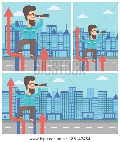 A hipster businessman with the beard standing on the top of arrow and looking through spyglass on the background of modern city. Vector flat design illustration. Square, horizontal, vertical layouts.