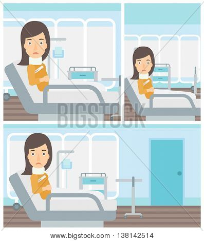 Young woman with neck brace lying in bed in hospital ward and suffering from pain. Vector flat design Illustration. Square, horizontal, vertical layouts.