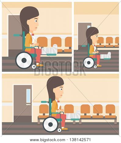 Young injured woman with broken leg in plaster sitting in wheelchair in the hospital corridor. Vector flat design Illustration. Square, horizontal, vertical layouts.