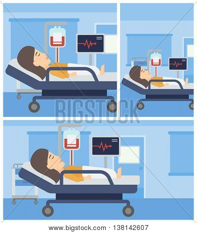 Young woman lying in bed at hospital ward. Patient with heart rate monitor and equipment for blood transfusion in medical room. Vector flat design Illustration. Square, horizontal, vertical layouts.
