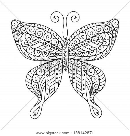 Coloring book for adult and older children. Coloring page. Outline drawing. Decorative butterfly silhouette