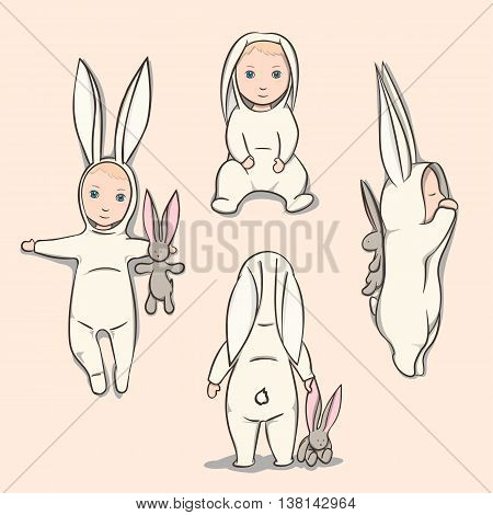 Baby in a rabbit suit with a plush toy. Four poses. Sleeping positions, on back, sitting and standing. Vector Illustration.
