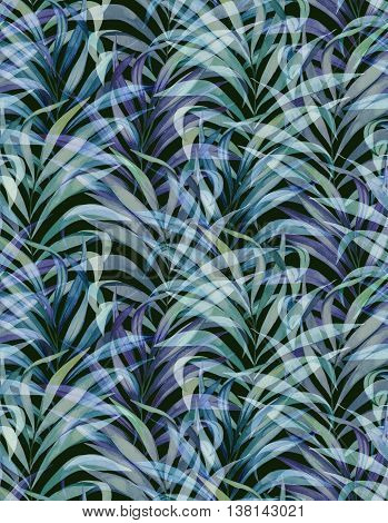 seamless elegant palm pattern with vertical direction. watercolor illustrations of vintage palm. muted washed colors.