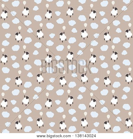 Seamless pattern of cute sheep in clouds. Childish background.