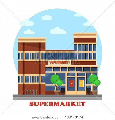 Around the clock or day and night supermarket outdoor exterior with garbage cans and bushes or trees. Boutique panorama view. Can be used for trading or business, shopping theme