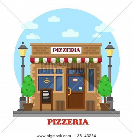 City italian pizzeria facade front street view with menu, trees or bushes and lamp or lantern. Fast food shop outdoor exterior. For eating or selling themes
