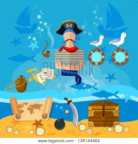 Pirate cartoon old map pirate treasure on the ocean floor vector illustration