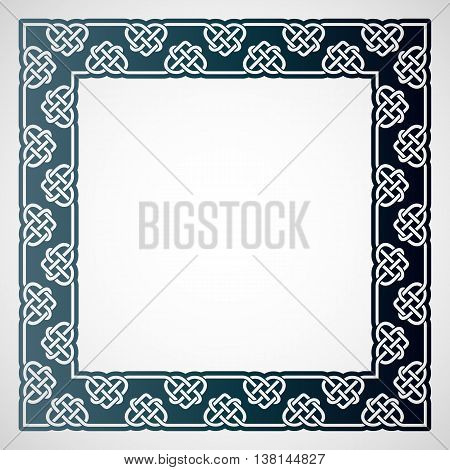 Openwork square frame with celtic motif. Laser cutting template for greeting cards envelopes wedding invitations decorative elements in the interior.