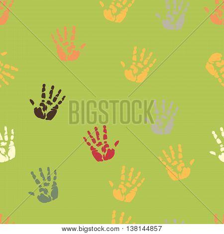 Hand palm ink splash print seamless background texture template