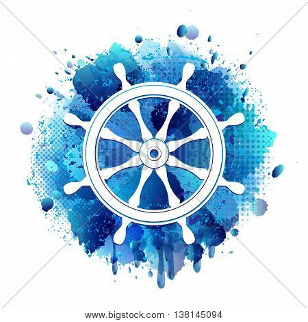 Steering wheel for ship white icon on abstract artistic background of blue paint splashes. Vector illustration