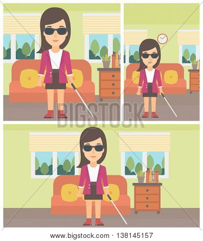 A blind young woman in dark glasses standing with walking stick in the living room. Vector flat design Illustration. Square, horizontal, vertical layouts.