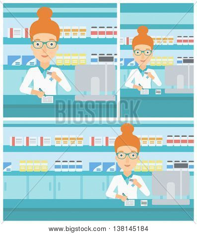 Young female pharmacist in medical gown standing at pharmacy counter, writing on clipboard and holding prescription in hand. Vector flat design Illustration. Square, horizontal, vertical layouts.