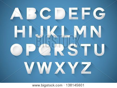 Vector of stylized paper font and alphabet