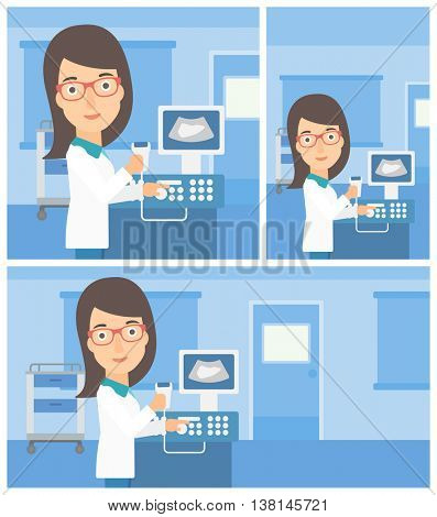 Young female doctor working on modern ultrasound equipment and holding scanner in hand at medical office. Vector flat design Illustration. Square, horizontal, vertical layouts.