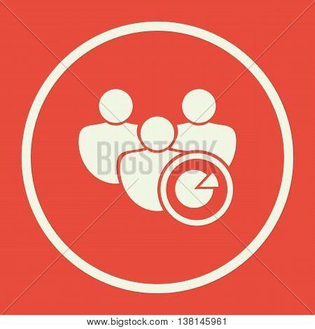 User Pie Icon In Vector Format. Premium Quality User Pie Symbol. Web Graphic User Pie Sign On Red Ba