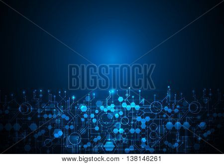 Vector abstract futuristic technology background. Illustration circuit board on dark blue color background. Hi-tech digital technology concept