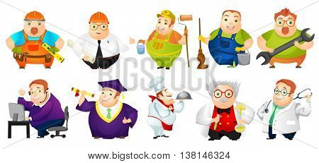 Set of illustrations of cheerful fat man of different professions such as of carpenter, painter, doctor, engineer, operator of technical support. Vector illustration isolated on white background.