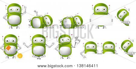 Set of green robots holding white blank board. Cute robots meditating in lotus pose, knitting a scarf, pushing virtual button, pointing finger up. Vector illustration isolated on white background.