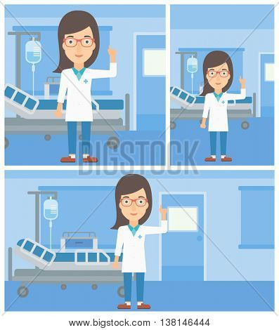 Female doctor in medical gown showing finger up while standing on the background of hospital ward. Vector flat design Illustration. Square, horizontal, vertical layouts.
