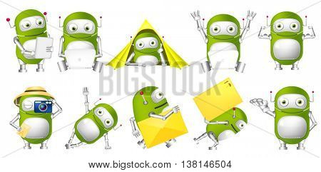 Set of green robots working on laptop and tablet computer. Cute green robots taking photo, lying in tent, holding envelope, showing his muscles. Vector illustration isolated on white background.