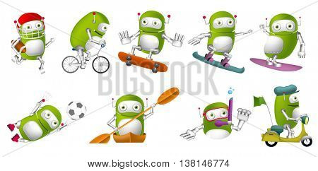 Set of green robots wearing sports uniform and using sports equipment. Robots playing rugby, football. Robots riding bicycle and scooter, swimming. Vector illustration isolated on white background.