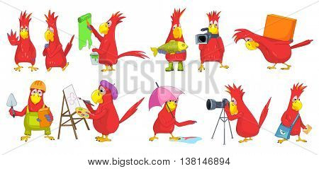 Set of funny parrots of different professions such as painter, artist, fisherman, cameraman, loader, mason, photographer, mailman. Parrot is praying. Vector illustration isolated on white background.