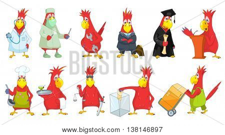 Set of funny red parrots dressed in costumes of different professions such as chef, waiter, businessman, surgeon, loader, judge, plumber, doctor. Vector illustration isolated on white background.