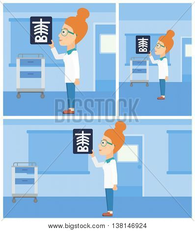 Female doctor looking at a skeleton radiograph in the medical office. Vector flat design Illustration. Square, horizontal, vertical layouts.