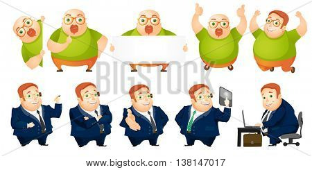 Set of people including cheerful fat bald man with white blank board and charming rotund businessman working on a laptop, pushing virtual button. Vector illustration isolated on white background.
