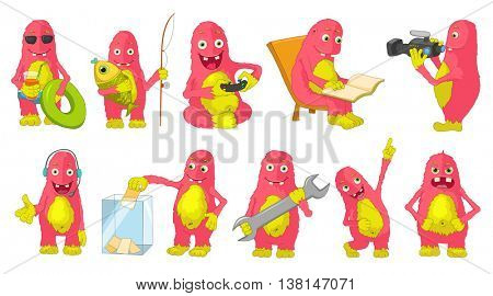 Set of cute big pink monsters fishing, playing video games, reading book, filming with video camera. Monster putting a ballot in an election box. Vector cartoon illustration isolated on white