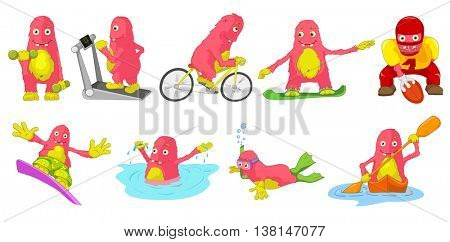 Set of cute big pink monsters engaged in various kinds of sports such as running on treadmill, bicycling, rugby, swimming, snorkeling, kayaking. Vector cartoon illustration isolated on white