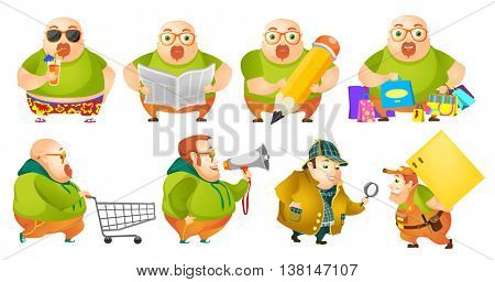 Set of illustrations of cheerful fat man drinking cocktail, reading newspaper, drawing with pencil, doing shopping, using megaphone, carrying box. Vector illustration isolated on white background.