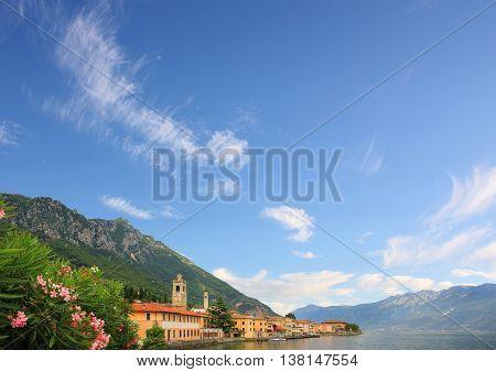 Village At Garda Lake Shore, Blue Sky Background