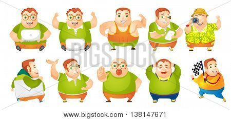 Set of illustrations of cheerful fat man showing muscles. Man using laptop, cellphone and photo camera. Man walking with envelope. Plump man crying. Vector illustration isolated on white background.