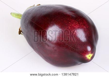 Fresh healthy aubergine isolated on white background
