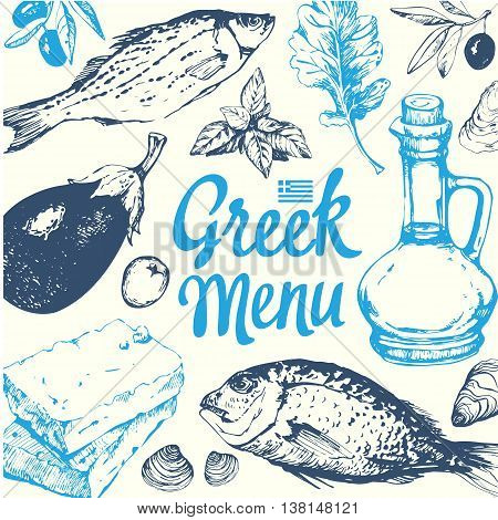 Vector illustration with fish olive oil cheese and vegetables. Sketch design. Mediterranean traditional products in sketch style. Greek homemade traditional food on white background.