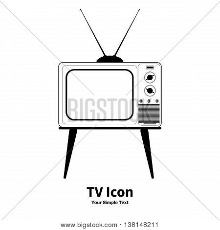 Vector illustration old retro TV icon isolated on a white background.