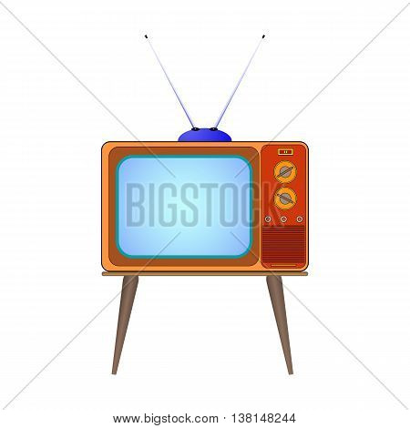 Vector illustration cartoon old TV on the legs with the antenna. Isolated on white background.