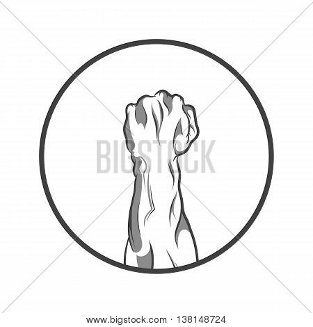 Vector illustration in black and white style of a clenched fist held high in protest