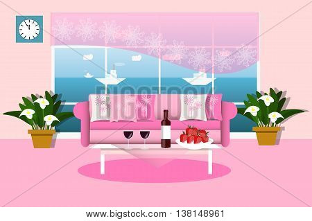 Beautiful interior living room with sea view, pink color, snacks and beverages