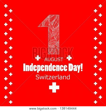 Independence Day 1 august. Switzerland holiday Swiss Day. Red background and white text.
