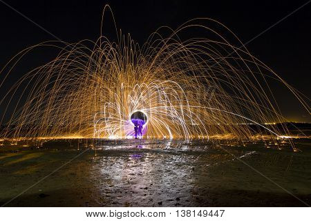 Steel Wool and Magnesium Ribbon Spinning with purple light painted orb