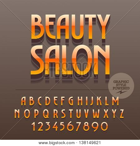 Set of slim reflective metallic alphabet letters, numbers and punctuation symbols. Vector bright label with text Beauty salon. File contains graphic styles
